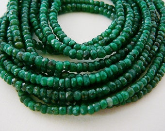Emerald Gemstone Beads, Genuine Precious Faceted Rondel 3.5mm Spacer 3 inch mini strand