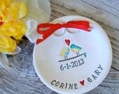 Love Birds Custom Ring Bearer Bowl, Personalized Wedding Keepsake, Ring Pillow,Ring Pillow Alternative, Wedding Ring Holder,Ring Warming