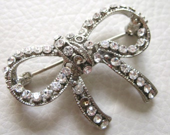 Put a Bow on it, Vintage Metal Rhinestone Pin