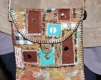 Artsy Quilted Painted Appliqued Beaded and Embroidered Purse Tote Bag