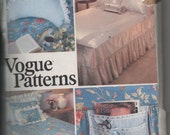 1980s vintage UNCUT sewing pattern Vogue 2006 twin double queen size Bed Linen Package pillows covers neck roll caddy dust ruffle blanket