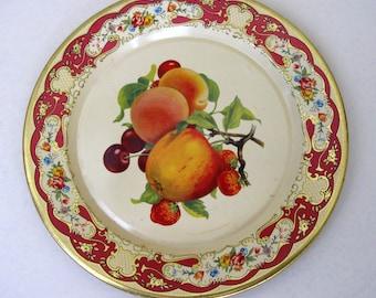 Vintage Daher Fruit Theme Tin Plate Peach Apple Cherry Strawberry