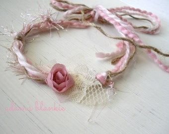 Faun - Tie Back Open Halo Headband Wrap - Gold Pink Cream - OR TEAL - Rosette Lace - Newborn Baby Girl Infant Adults - Photo Prop