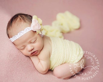 Daphne - Pink Yellow White Rosette Headband - Tulle Lace Flowers - Newborn Infant Baby Girl Toddler Adult