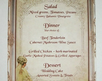 VINTAGE BRIDE - Dinner menus - Made to order - Custom Menus - Elegant -  Bridal decoration - Wedding - Set of 25 - TTN 5766