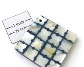White Shell Mosaic and Blue Acrylic above Horn 40mm x 40mm Square Pendant, 099-26