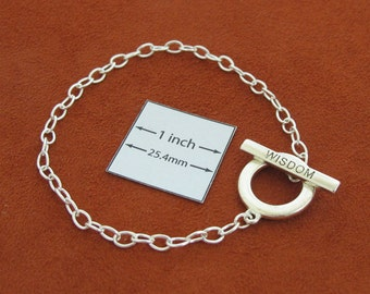 "Silver Metal Chain Bracelet with Toggle Clasp ""WISDOM"", Just Add Charms or Dangles,  A064A"