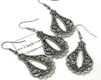 Antiqued Silver Metal Chandelier 50mm x 25mm Filigree Style Earrings, Just Add Dangles, Sold per 2 Pairs, 1089-03