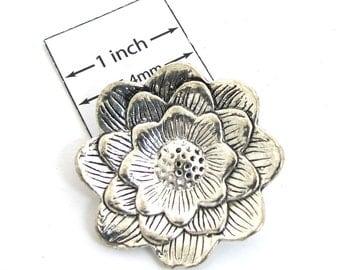 Antiqued Silver Metal 35 mm flower pendant, 5 mm hidden loop on back, 1089-25
