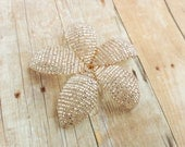 Flower Hair Clip or Brooch Pin - Blush Sparkle - Ododo Originals Bridal Ready to Ship