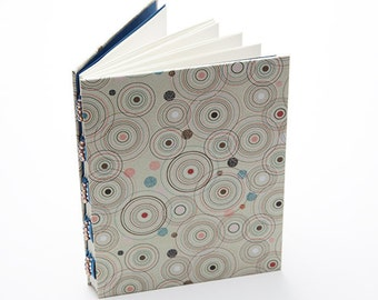 Handmade journal, blue and brown mod circles notebook, writing journal, diary
