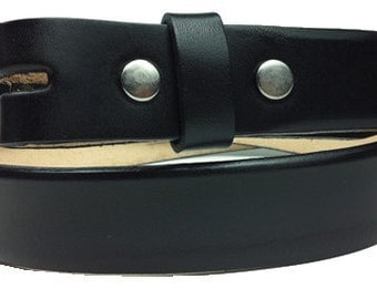 "Narrow Black Leather Belt Strap- Black Snap On Belt - Removable - Mens Womens - 1 1/8"" Width - 32 34 36 38 40 42 44 - 20+ OTHER STYLES AVAIL"