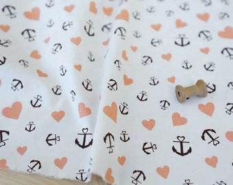 3124 - Anchor Heart Twill Cotton Fabric - 57 Inch (Width) x 1/2 Yard (Length)