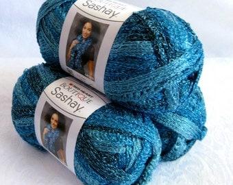 Boutique Sashay Metallic yarn  AQUAMARINE,  sea blue green shades, Red Heart yarn