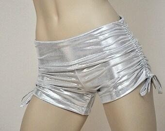 Hot Yoga Shorts Platinum Silver Metallic Item 4620