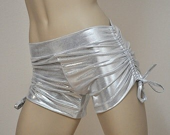 Hot Yoga Shorts Platinum Silver Metallic Item 4621