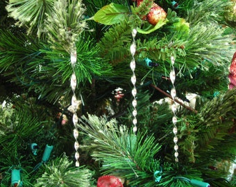 Tin Icicle Ornaments Silver Metal Old Fashioned 5 Inch 12 Piece Handmade By West Tinworks