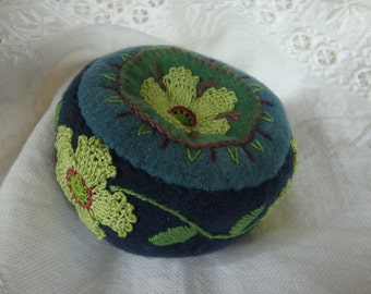 Deep Blue and Spring Green flower Pincushion