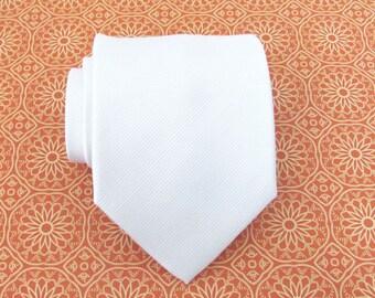 Mens Tie Necktie White Tone on Tone Striped Silk Neck Tie With Matching Pocket Square Option