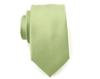 Mens Tie Pale Olive Green Tonal Stripes Skinny Necktie