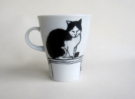 Black and White Cat on rooftop -  Handpainted Porcelain  Mug