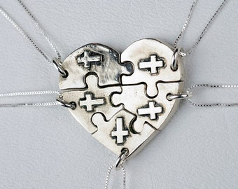 Puzzle Piece Heart Necklace Jewelry Personalized Custom Sterling Silver