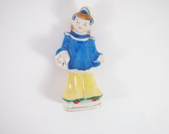 Vintage 30s Porcelain Oriental Girl Japan Figurine