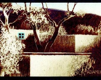 Turquoise Window, Southwest Art, New Mexico Adobe houses, Art Print, sepia toned, 8x10 Black or Cream mat, Ready to Frame