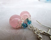 Pink Rose Quartz and Crystal Earrings