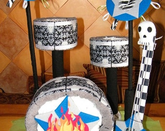 Rock Drum Set Diaper cake with personalized items