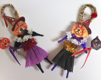 Chow Chow HALLOWEEN WITCH vintage style chenille ORNAMENTS set of 2 feather tree