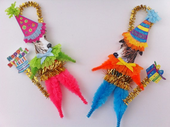 Greyhound BIRTHDAY party vintage style CHENILLE ORNAMENTS feather tree set of 2
