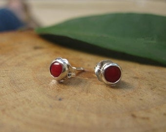 Handmade Red Coral Sterling Silver Studs READY TO SHIP Post Earrings 4mm