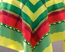 Vintage Midcentury Tablecloth PARISIAN PRINTS Knockout Color Chartreuse Modernist Plaid