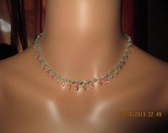 Dainty Aqua Green/Seafoam Amazonite And Swarovski Crystal Sterling Silver Link Spring Necklace