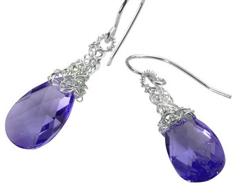 Purple Crystal Earrings, silver violet Swarovski Crystal  Earrings ,  Pastel bridal earring , silver earrings