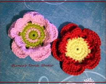 INSTANT DOWNLOAD Flat center, beading flower, applique crochet Instructions in PDF format.