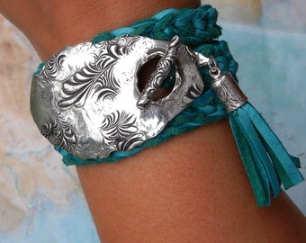 Turquoise Jewelry, Turquoise Leather Bracelet, Genuine Turquoise Leather Wrap Bracelet, Artisan Turquoise Jewelry, Turquoise Hippie Fashion