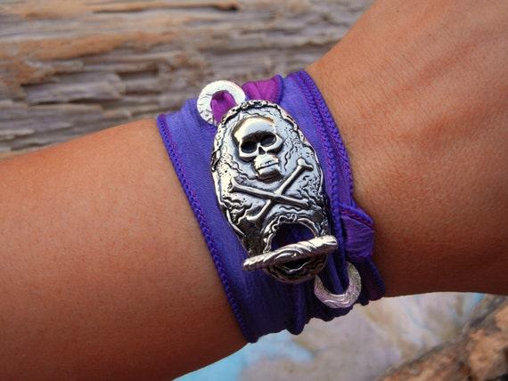 Pirate Jewelry, Hand Dyed Silk Wrap Bracelet, READY to SHIP Gift, Jolly Roger Flag Jewelry, Handmade Silver Jewelry Gift, Pirate Skull Flag