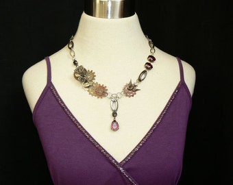 Necklace - Steampunk - Goth - Red and Purple - Unique - Watch Gears - Sparrow - Recycle - UpCycle - Reuse