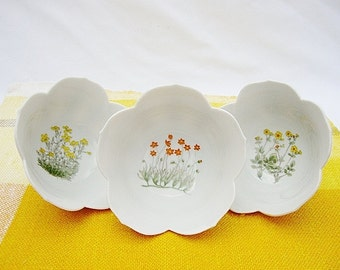 vintage lotus bowls wildflower design