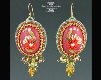 In The Pink Earrings, Beadweaving, Polymer Clay