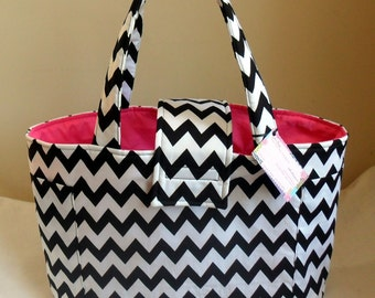 Large Black and White Chevron Diaper Bag Tote CHOICE OF INTERIOR