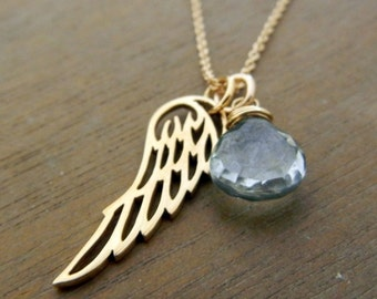 Angel Wing Necklace | Blue Quartz Briolette Charm | Gold Bronze Wing Charm | 14K GF Chain