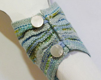 Handwoven Cuff, Wristlette, Bracelet, Blue, Green, by Frederick Avenue