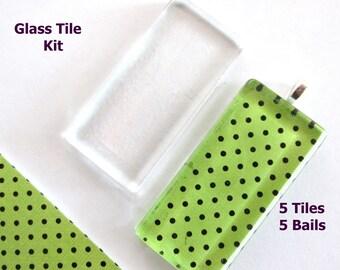 Kit  5 Glass Tiles Rectangles  5 Aanraku Medium Bails