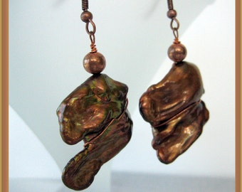 Earrings - Fresh water chunky Pearls- Copper beads- Gift Idea