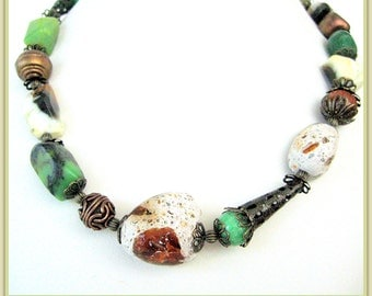 Necklace- Australian Jade- burnt Agate- Sandstone- rocks with Amber- Copper ornamental cups and beads- Gorgeous color and rich texture