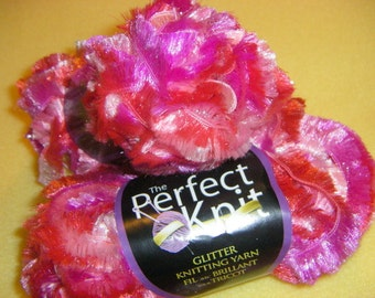 Variegated Pink Glitter Eyelash Novelty Yarn, two skeins of sparkly accent yarn