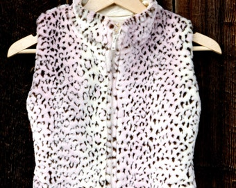 Girls Faux Fur Vest Pink and Brown Leopard Print